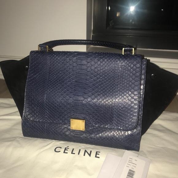 977a7ac4f Celine Bags | Navy Snakeskin Large Trapeze Bag | Poshmark
